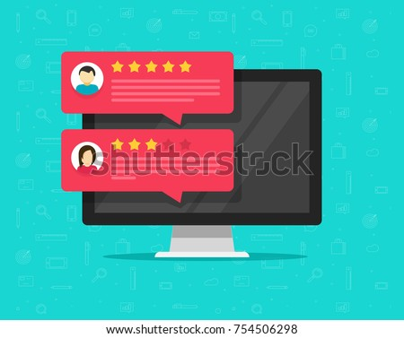 Computer with customer review rating messages vector illustration, flat cartoon design of desktop pc display and online reviews or client testimonials, concept of experience or feedback, rating stars