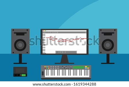 computer with daw session in