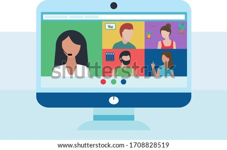 Computer with group of people doing video conference with microphone. conversation. Men and women. Online meeting via group call. remote work because of coronavirus. Vector illustration in flat style