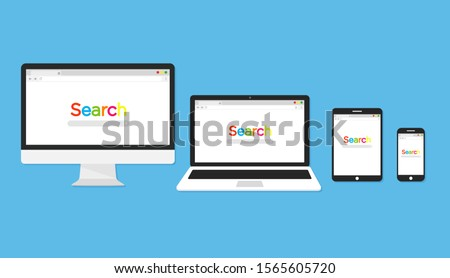 Computer with with open browser. Monitor with browser and search bar. Flat icon