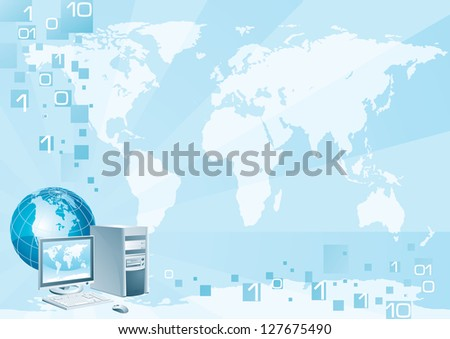 Computer world. Vector illustration of the computer with the flat monitor, the mouse and the globe on an abstract background with a world map