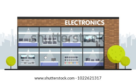 Computers and electronics store building and interior, laptops mobile phones and television screens showcase and city skyline on background. Vector illustration