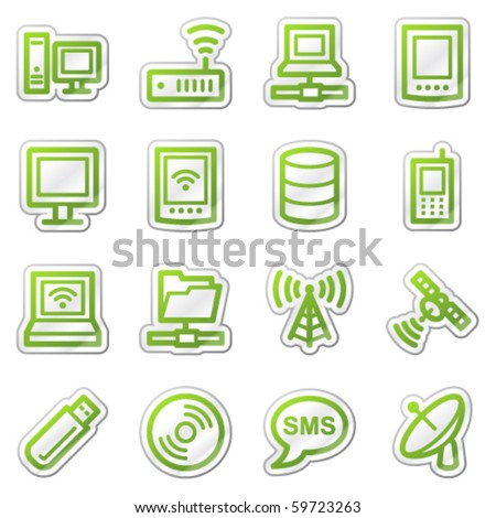 Computers and electronics web icons set 1, green sticker series