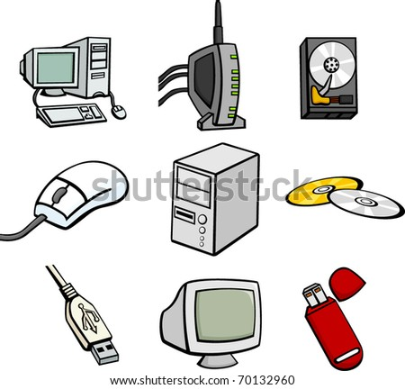 computers and hardware illustrations set