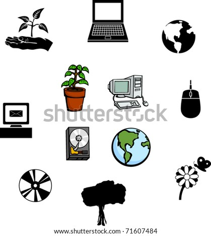 computers and nature illustrations and symbols set