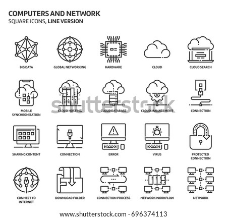 Computers and network, square icon set. The illustrations are a vector, editable stroke, thirty-two by thirty-two matrix grid, pixel perfect files. Crafted with precision and eye for quality.
