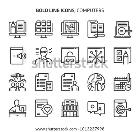 Computers and networking, bold line icons., editable stroke, 48x48 pixel perfect files. Crafted with precision and eye for quality.