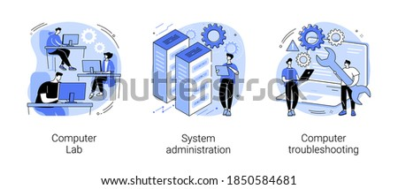 Computers and software abstract concept vector illustration set. Computer lab, system administration, troubleshooting, information technology, network upkeeping, operating system abstract metaphor.