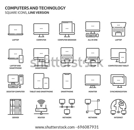 Computers and technology, square icon set. The illustrations are a vector, editable stroke, thirty-two by thirty-two matrix grid, pixel perfect files. Crafted with precision and eye for quality.