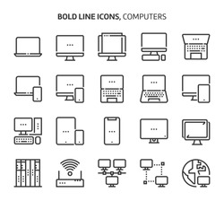 Computers, bold line icons. The illustrations are a vector, editable stroke, 48x48 pixel perfect files. Crafted with precision and eye for quality.