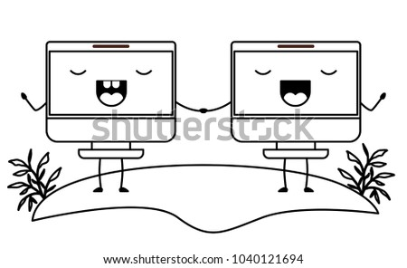 computers display couple kawaii