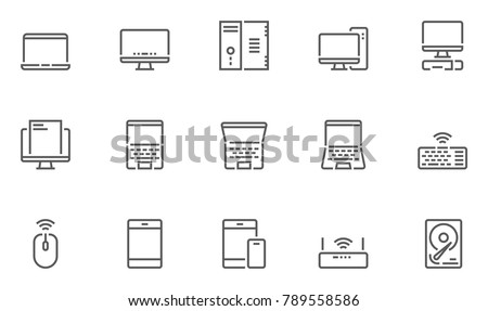 Computers Line Icons contains Laptop, Smartphone and more. Editable Stroke. 48x48 Pixel Perfect.
