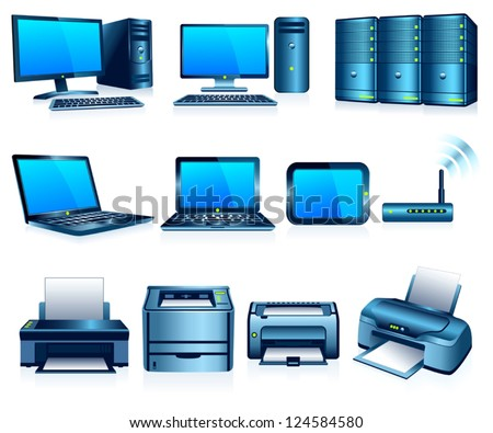 Computers Printers Technology Electronics, Graphic Silver Blue Version - stock vector