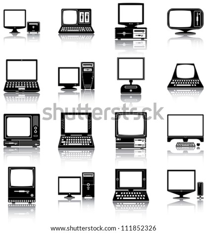 computers   16 silhouettes of