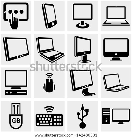 Computers vector icons set on gray.
