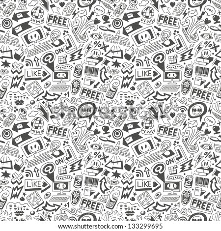 computers , web doodles - seamless pattern