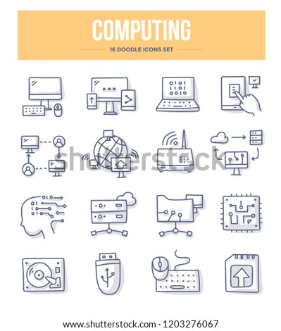 Computing and networking doodle vector icons set. Computer devices for communication, sharing and storing information