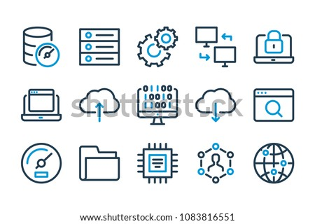 Computing and Web Development related line icon set. Server, Database  and Cloud technology stroke icons.