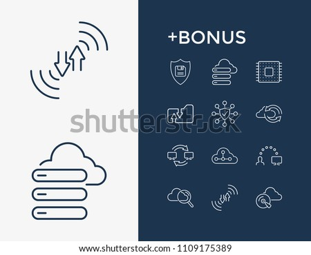 Computing icon set and network folder with data migration, cloud search and backup. Cloud technology related computing icon vector for web UI logo design.