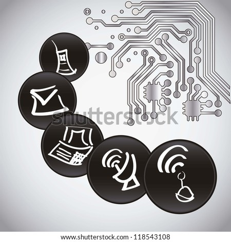 Computing icons and circuit board