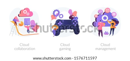 Computing technology. Internet of things. Cloud collaboration, cloud gaming, cloud management metaphors. Data centers available to many Internet users. Vector isolated concept metaphor illustrations
