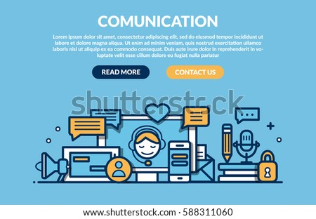 Comunication Concept for web page. Vector illustration #588311060