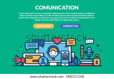 Comunication Concept for web page. Vector illustration #588311168