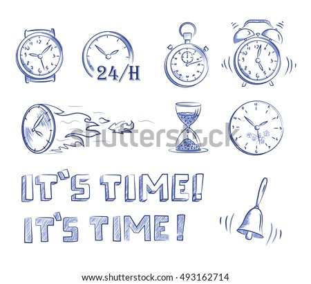 con set time and clocks. Hand drawn cartoon doodle vector illustration.