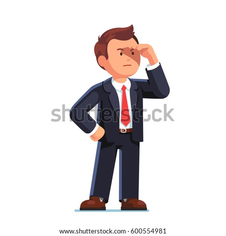 Concentrated businessman standing looking ahead into the distance with hand over his eyes. Business vision perspective planning concept. Flat style vector illustration isolated on white background.