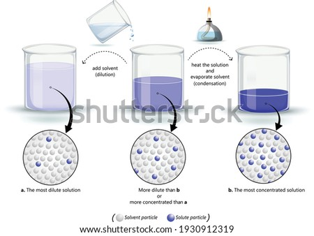 concentration of solutions infographic vector diagram, dilute and concentrated solutions, solutions with different concentrations