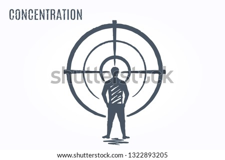 Concentration. Vector concept Art sketch. The man stands in front of the target and concentrated looking at the center.