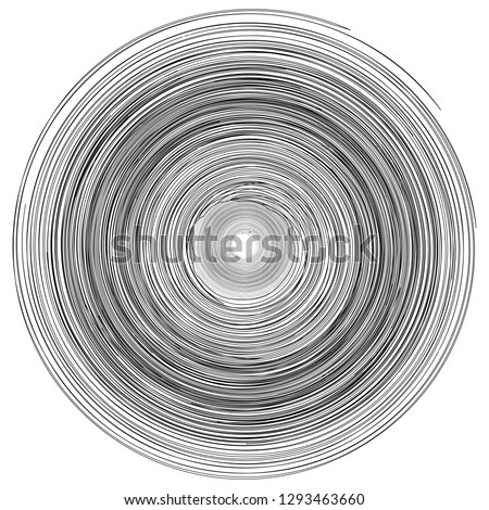 Concentric rings, circles pattern abstract monochrome element, vortex whirlpool vector Foto stock ©