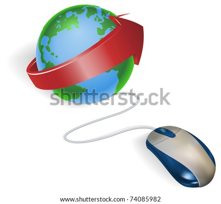 Concept. A mouse connected to a world globe with arrow.