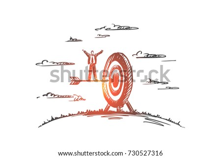 Concept: achieve, target, champion, winner, leader. Hand drawn arrow hitting in the target center of dartboard. Concept of achieving a goal, success businessman isolated vector illustration.