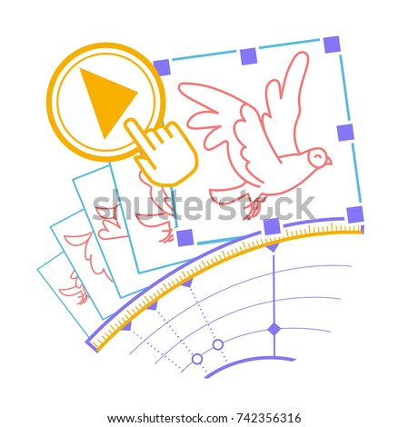 concept animation, hand drawn video  in the form of the program interface elements and the bird animation with the download button. Icon in the linear style
