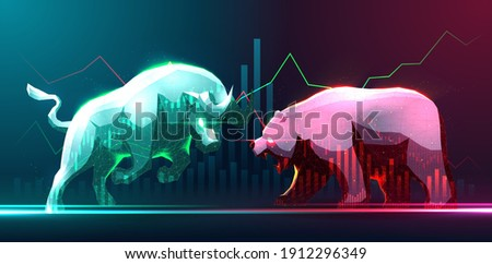 Concept art of Bullish and Bearish in stock Market or forex trading suitable for Stock Marketing or Financial Investment Photo stock ©
