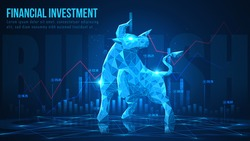Concept art of Bullish in futuristic idea suitable for Stock Marketing or Financial Investment