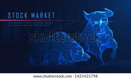 Concept art of Bullish vs Bearish in futuristic idea suitable for Stock Marketing or Financial Investment Photo stock ©
