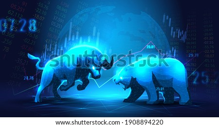 Concept art of Bullish vs Bearish in futuristic idea suitable for Stock Marketing or Financial Investment Foto stock ©