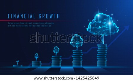 Concept art of financial growth in futuristic idea uitable for Growth Business or Financial technology investment