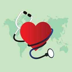 Concept art of medical illustration with red colour heart and stethoscope