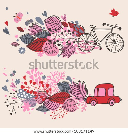 Concept background with bicycle ang car