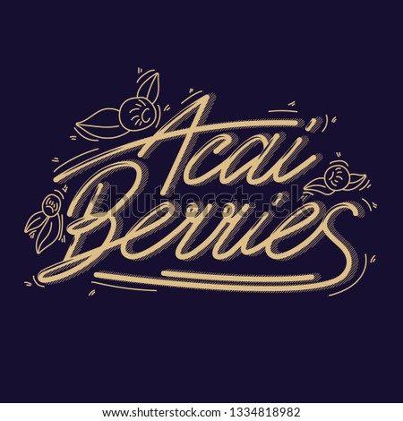 Concept berries acai vector line. hand drawing, funny doodles on a dark background with lettering. #1334818982
