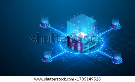 Concept big data processing center, cloud database, server energy station future. Data transmission technology. Synchronizing personal information. Cube or box  Block chain of abstract finance data
