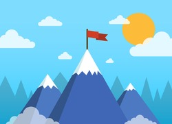 Concept business and success. Top of the mountain with red flag. Flat vector illustration.