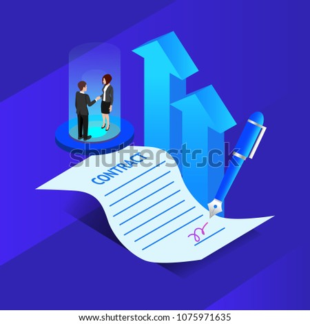 Concept business. Business people standing on a signed contract and agreement for increase the company profit. gradient design. vector illustration