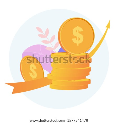 Concept business investment and pension savings. The arrow shows the financial growth of investments.   Modern design vector illustration.