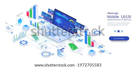 Concept business strategy. Analysis data and Investment. Application of laptop with business graph and analytics data on isometric laptop.  Online statistics and data Analytics. Vector illustration