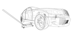 Concept car with Floor Car Jack. Vector rendering of 3d. Wire-frame style. The layers of visible and invisible lines are separated