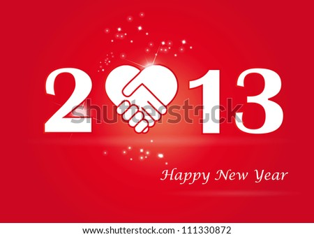 Concept card on New Year 2013 with hands